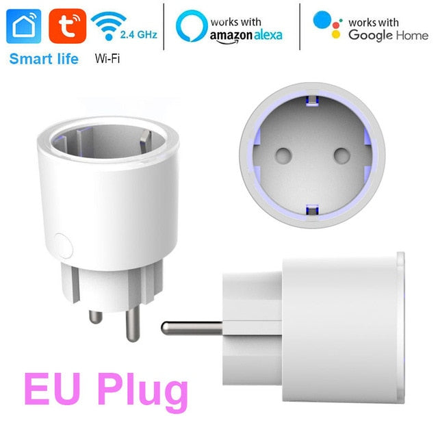 Choifoo US/EU/UK Smart Mini Socket Plug WiFi Wireless Remote Socket Adaptor with Timer on / off Compatible with Alexa Google Home Voice