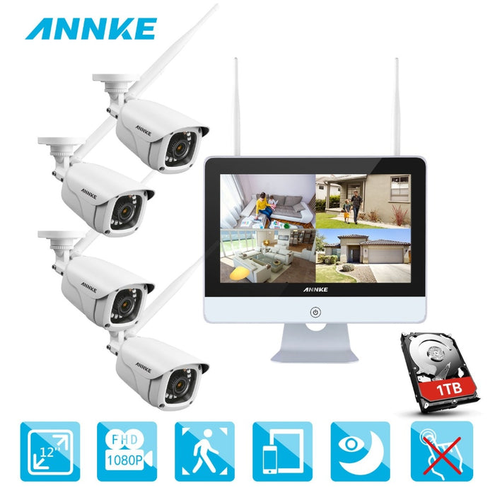Annke 4CH 1080P HD WiFi Wireless NVR Video Surveillance System 12inch LCD Screen Automatic Screen Saver 1080P Bullet IP Cameras