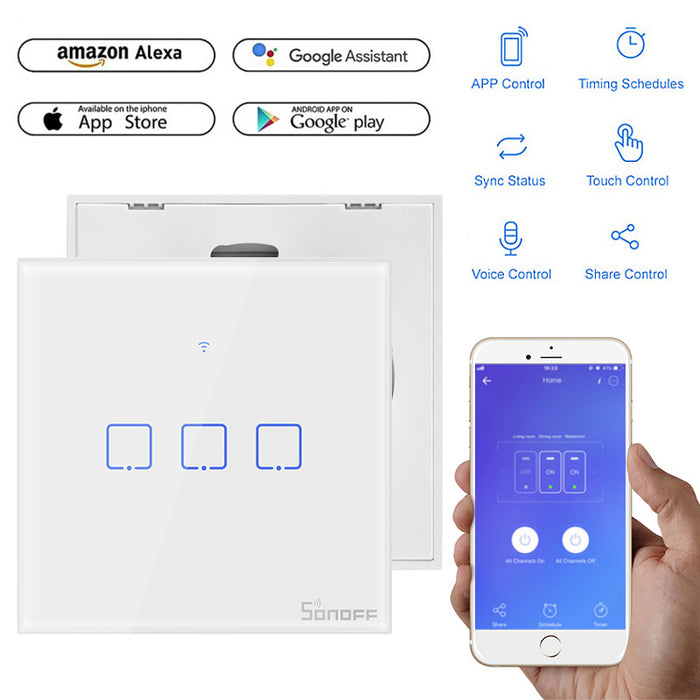 Sonoff T1 T2 T3 Wifi Smart Switch Touch Screen Remote 1/2/3 Gang 433Mhz RF/Voice/APP/Touch Control Smart Home Alexa Google Home