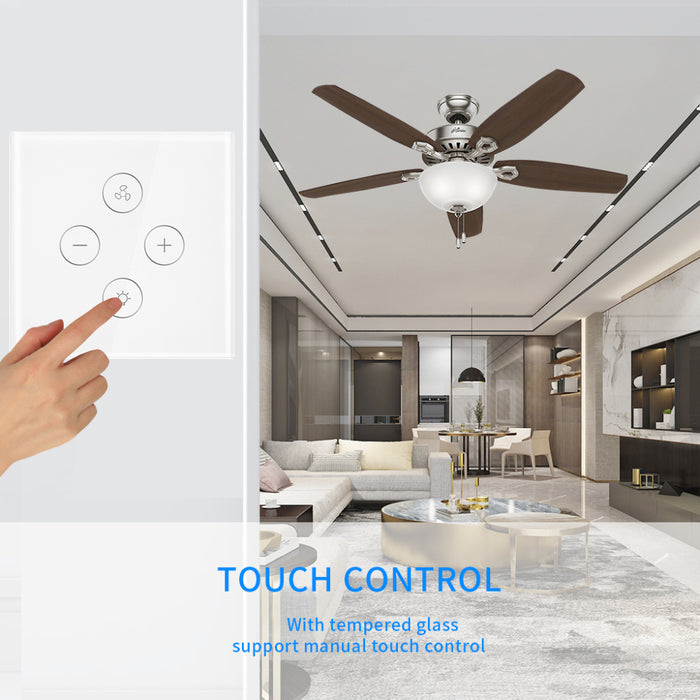 Choifoo EU US WiFi Smart Ceiling Fan Switch Dimmer Switch APP Remote Timer and Speed Control Work with Alexa Google Home No Hub Required