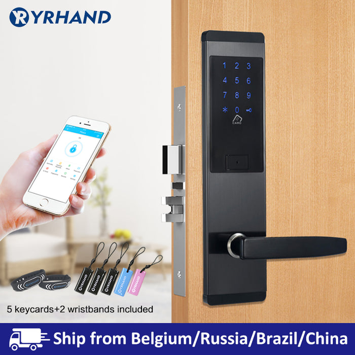 Yrhand TTlock App Security Electronic Door Lock, APP WIFI Smart Touch Screen Lock,Digital Code Keypad Deadbolt For Home Hotel Apartment