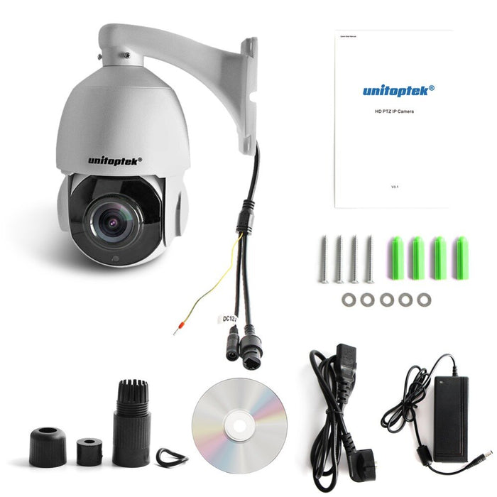 Unitoptek 4 Inch Mini PTZ Speed Dome IP Camera Outdoor HD 4MP 2592x1520 Network Onvif CCTV Surveillance Cam 30X Zoom Night Vision PTZ Cam