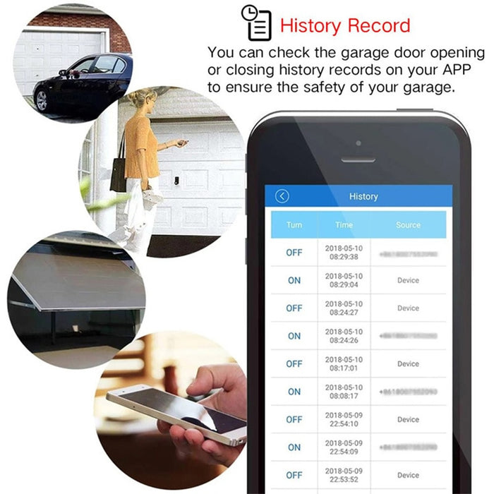 Liplasting Smart Home Wifi Smart Garage Door Switch Wireless Remote Control Garage Door Switch Suit for Amazon Alexa Google Home