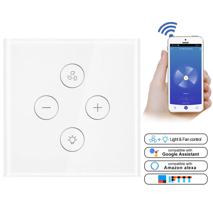 Choifoo WiFi APP Remote Timer Speed EU Smart Ceiling Fan Switch Control Compatible with Alexa and Google Home Automation No Hub Required