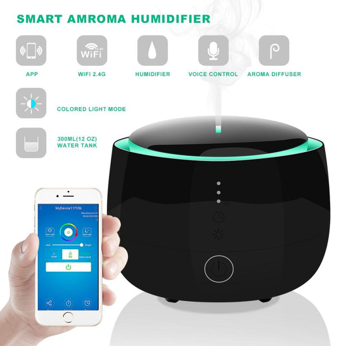 H96 Wifi Wireless Aroma Essential Oil Diffuser 300ml Humidifier Tuya/Smart Life APP Compatible With Amazon Alexa Google Home