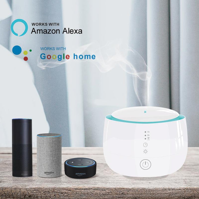 Centechia 300ml Smart Wifi Wireless Aroma Essential Oil Diffuser Compatible With Amazon Alexa Google Home For Room Home Bedroom