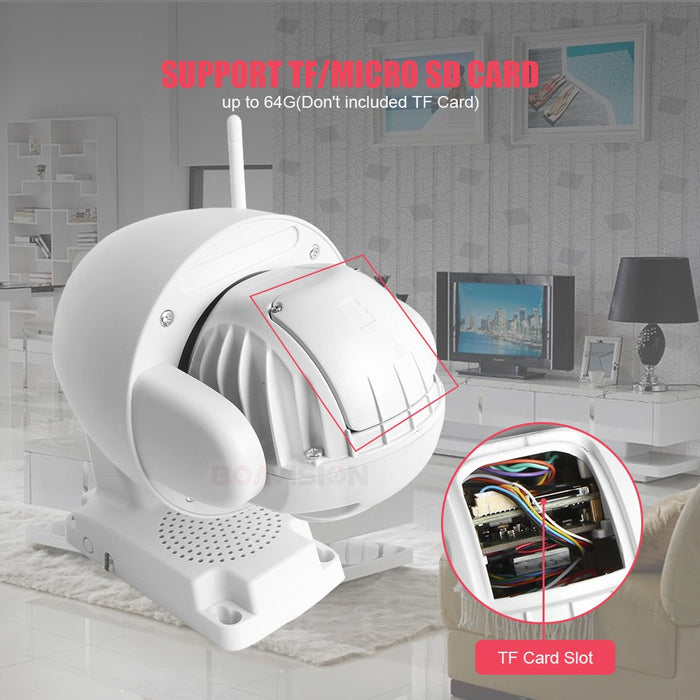 Boavision Super Mini 2.5 Inch PTZ Speed Dome WIFI IP Camera 1080P Outdoor 5X Zoom / 4mm Fixed Lens Wireless Camera IR 60m Two Way Audio