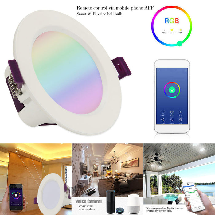 Choifoo WIFI Downlight Led Smart Downlight Ceiling Light Bulb Adjustable Voice APP Control Work with Alexa Amazon Google Home Homekit