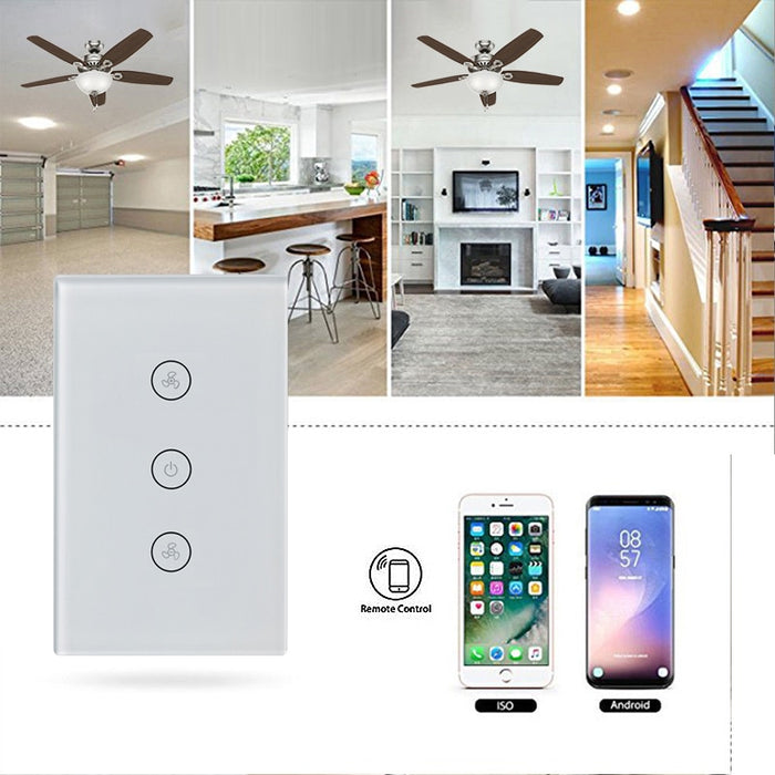 Choifoo US Stand Smart Wifi fan Switch Touch/WiFi/RF/APP Remote Smart Home Wall Touch Switch Fan Controller Touch with Alexa Google Home