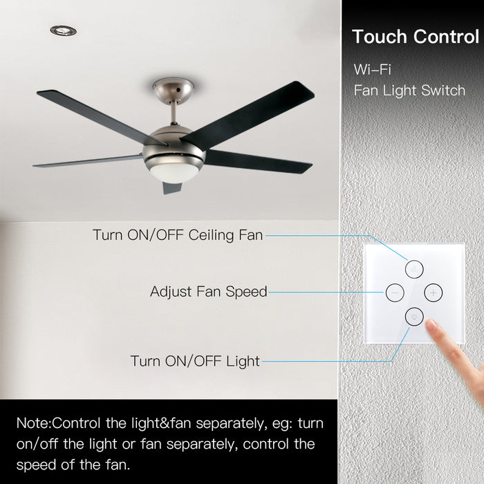 Moes WiFi Smart Ceiling Fan Light Wall Switch,Smart Life/Tuya APP Remote Various Speed Control, Compatible with Alexa and Google Home