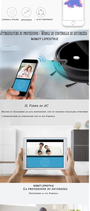 Robot Lifestyle Vacuum Cleaner HD Camera Smart Memory Video Call Navigation Mapping and Resume Smartphone App Control Auto