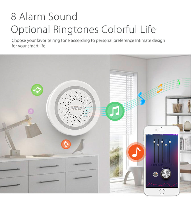 Neo Smart Home Wifi Alarm Sensor and App Notification Alerts,No Hub Required,Plug and Play,Compatiab Alexa Echo Google Home