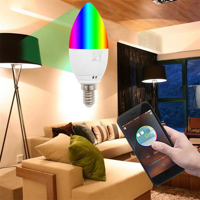 Oobest Smart WiFi Candle Bulb E14 Led RGB Spotlight Bulb Support Alexa/Google Home/IFTTT Smart Voice Control 5W for Home Decoration
