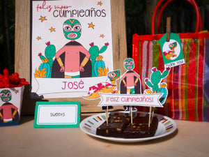 Luchador Party Printable! Complete Kit includes cupcake toppers, banner, origina designs, cute cactus, wrestler, and dinosaur.