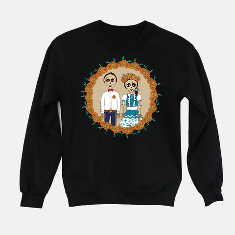 Día de Los Muertos Adult Crew Neck Sweater (Vintage/Distressed Design) - Fiesta Kits USA