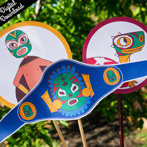 Luchador Photo Props Kit (Printable, Digital Download) - Fiesta Kits USA