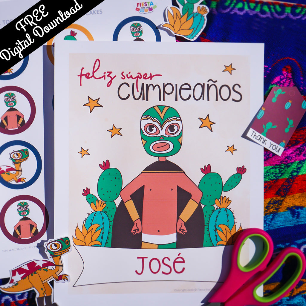 Luchador Birthday Party Kit (Printable, Digital Download) - Fiesta Kits USA