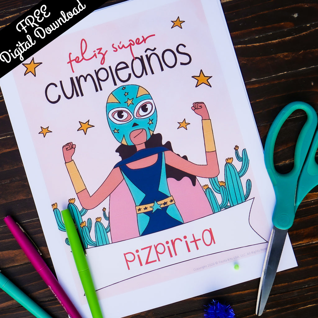 Luchadora Birthday Party Kit (Printable, Digital Download) - Fiesta Kits USA