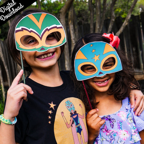 Luchadora Photo Props Kit (Printable, Digital Download) - Fiesta Kits USA