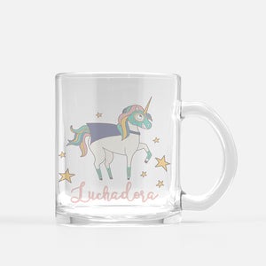 Luchadora Unicorn Glass Mug - Fiesta Kits USA