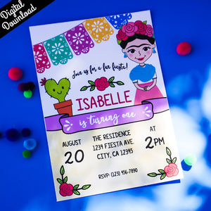 Frida Party Invitation Kit (Printable, Digital Download) - Fiesta Kits USA