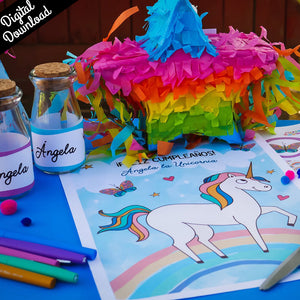 Unicorn Birthday Party Kit (Printable, Digital Download) - Fiesta Kits USA