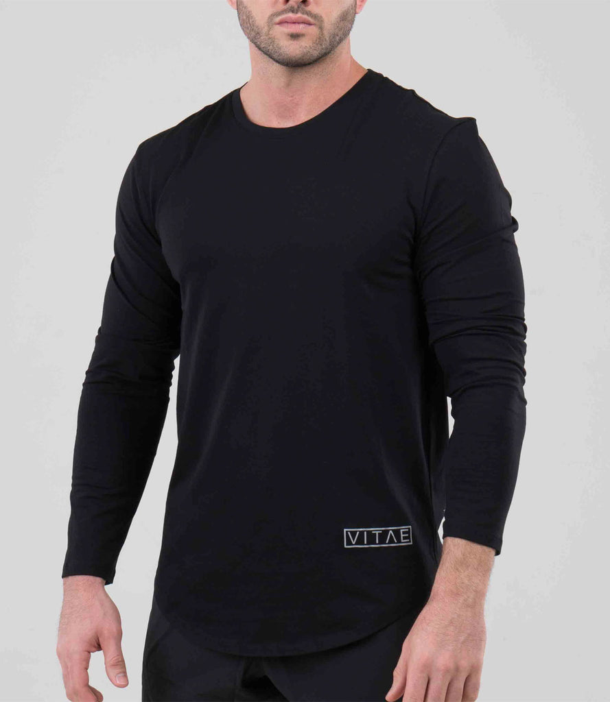 Fitted V-Light Black Sweatshirt