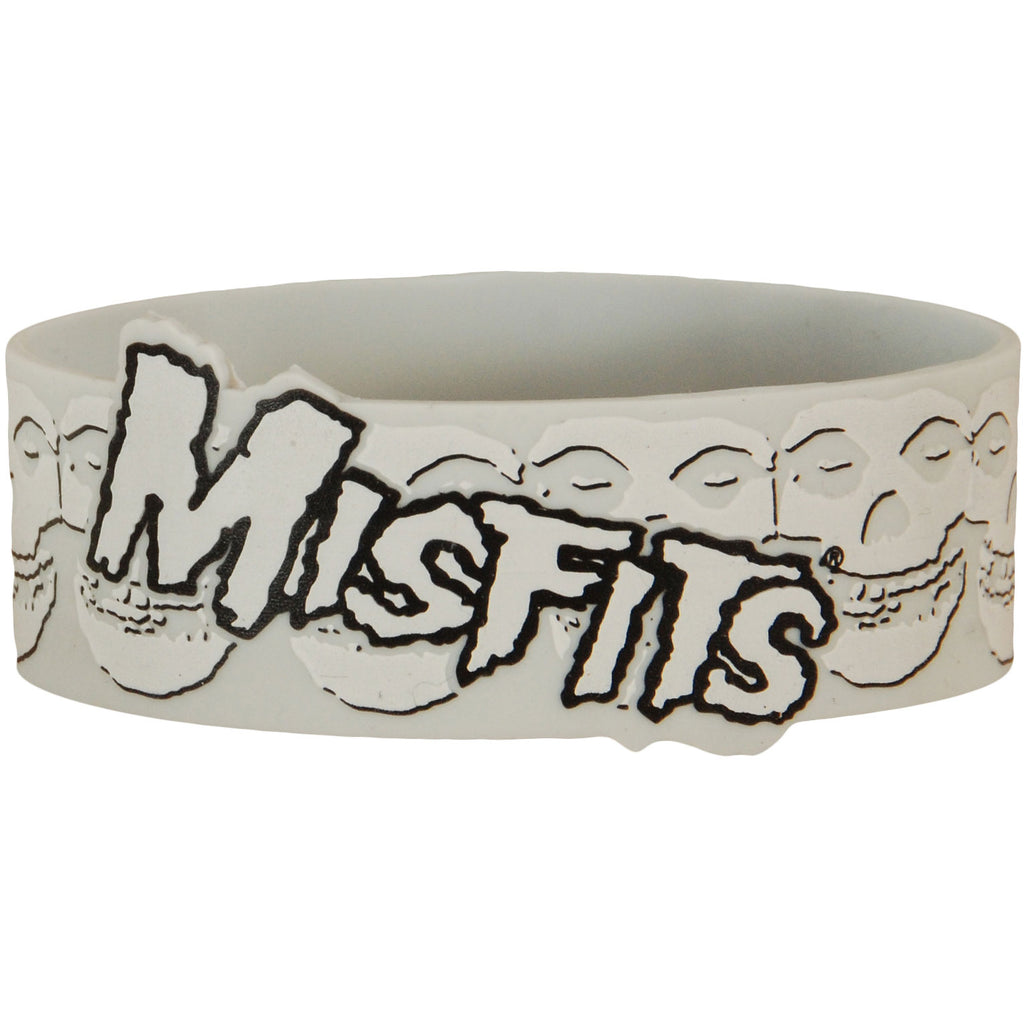 White Logo On Skulls Rubber Bracelet
