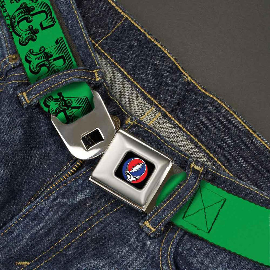 Text With Skull & Roses Green Seatbelt Buckle Belt