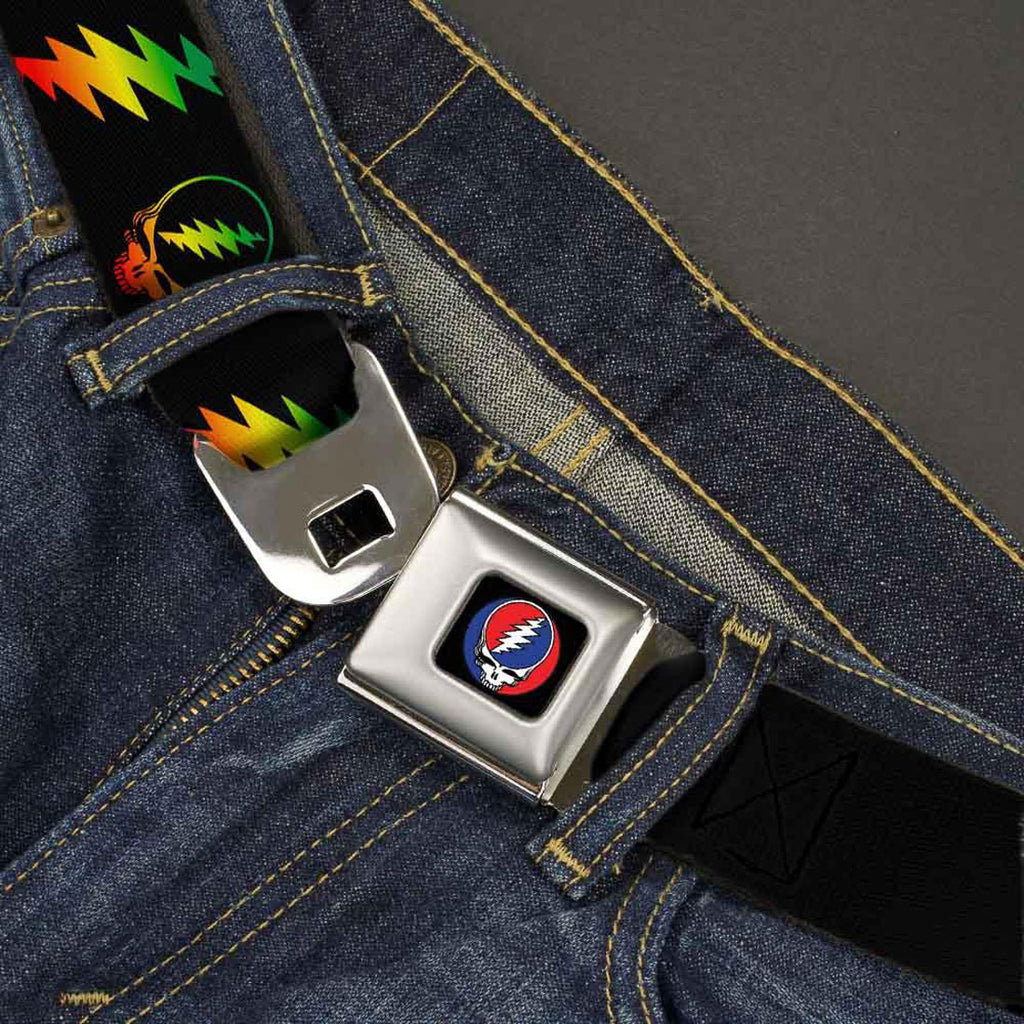 Steal Your Face With Lightning Bolt Repeat Black Seatbelt Buckle Belt