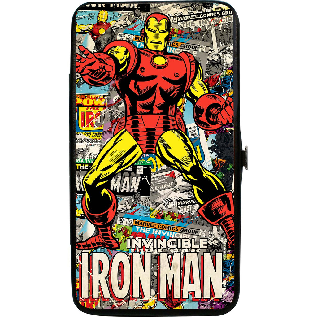 Invincible Iron Man Standing Pose/Stacked Retro Comics Girls Wallet