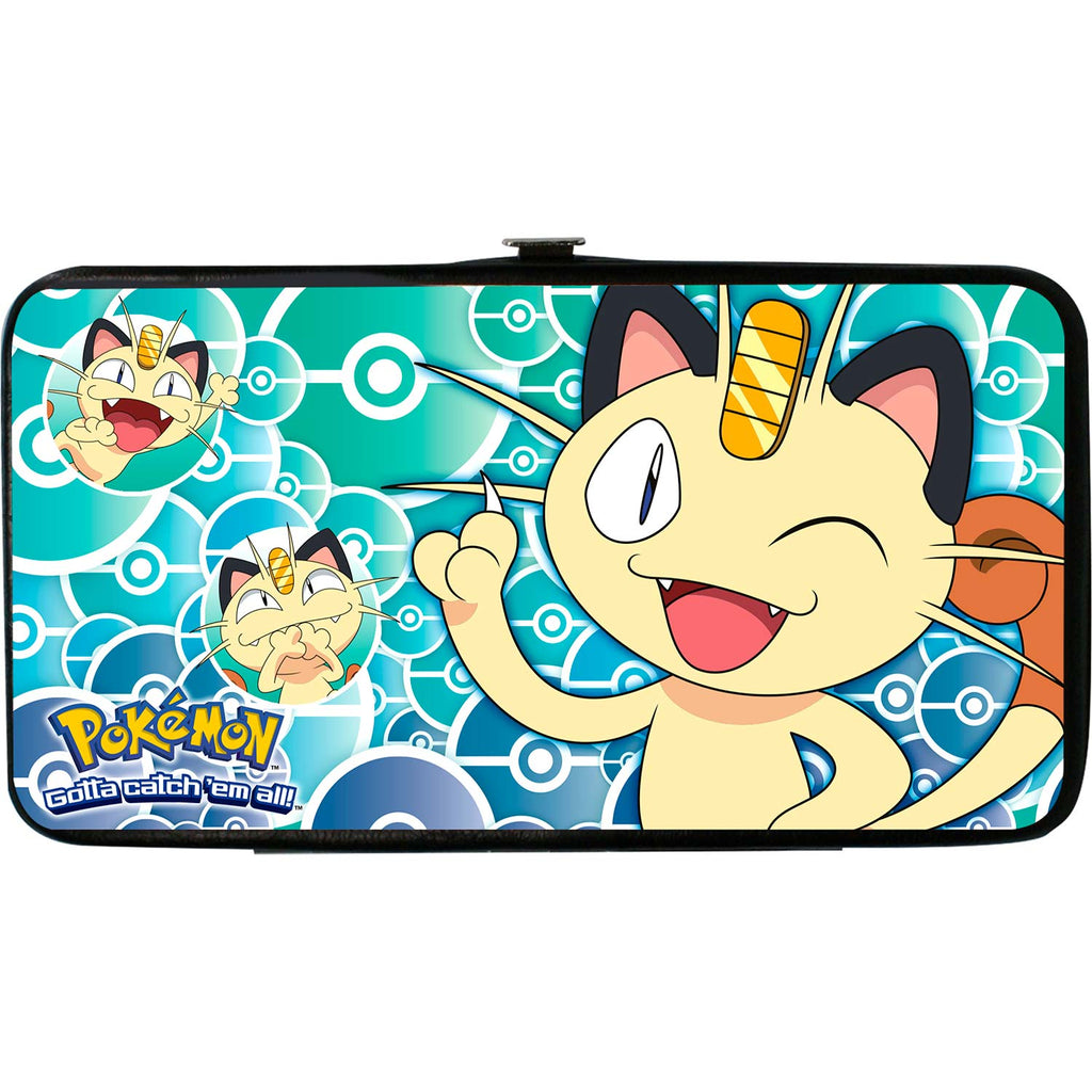 Meowth Pose/Expressions/Stacked Pok� Balls Blues Girls Wallet