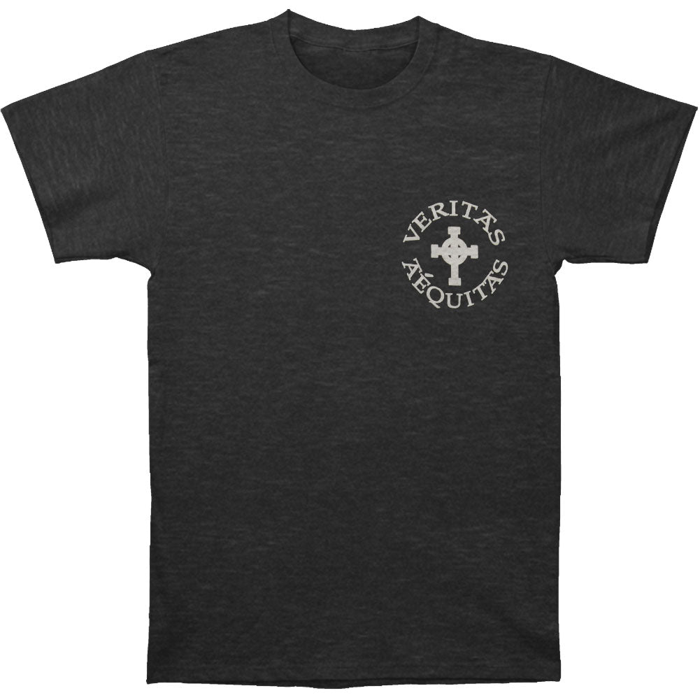 V/A Cross With Prayer On Back Gray Tee Slim Fit T-shirt