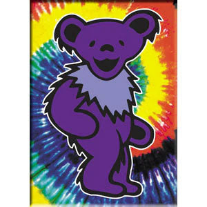 Purple Bear On Tie Dye Magnet