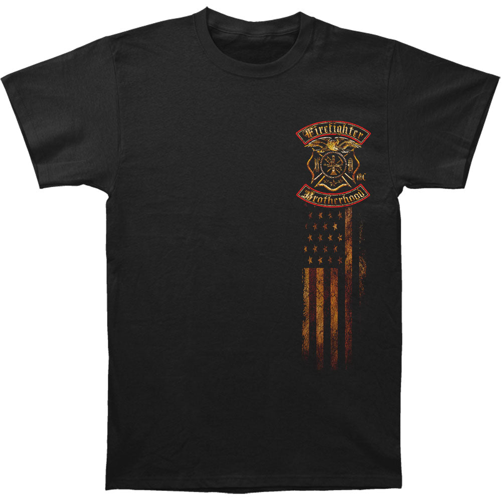 Firefighter Double Flagged Brotherhood Distressed Gold Foil T-shirt