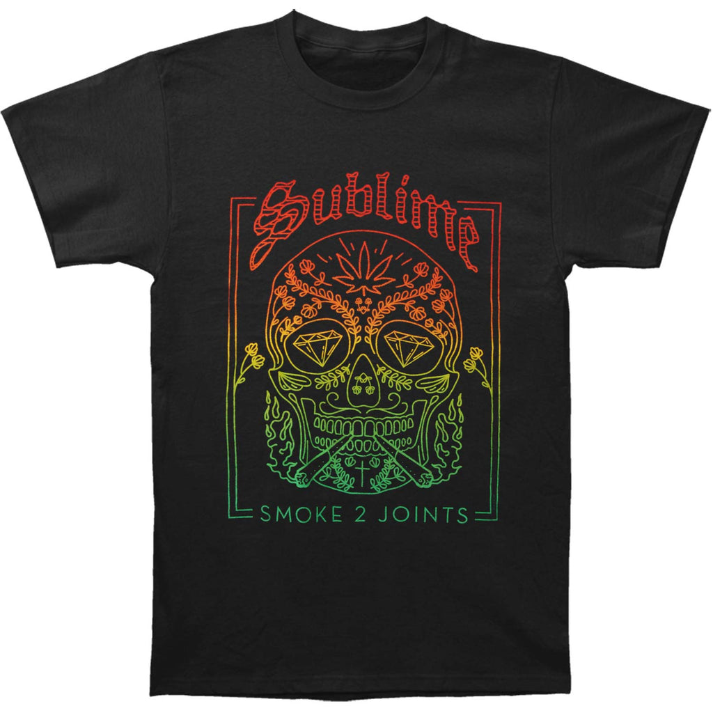 Smoke 2 Joints Skull Mens Soft T Slim Fit T-shirt