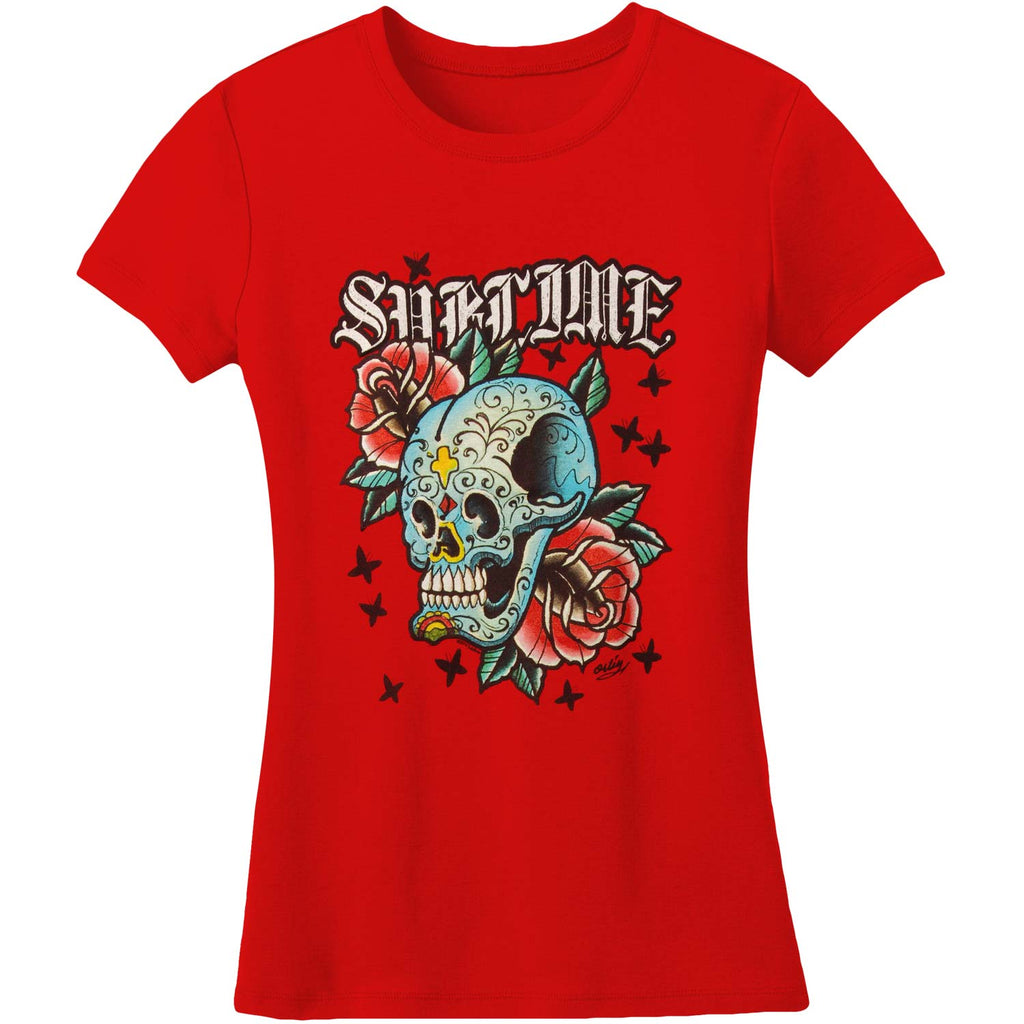 Jr Skull With Roses T Tissue Junior Top