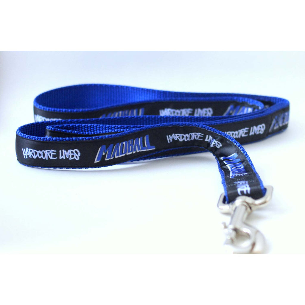 Hardcore Lives Blue 3/8 Inch Leash Pet Wear