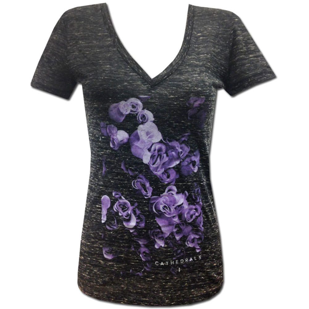 Cathedrals Flowers V-Neck Junior Top