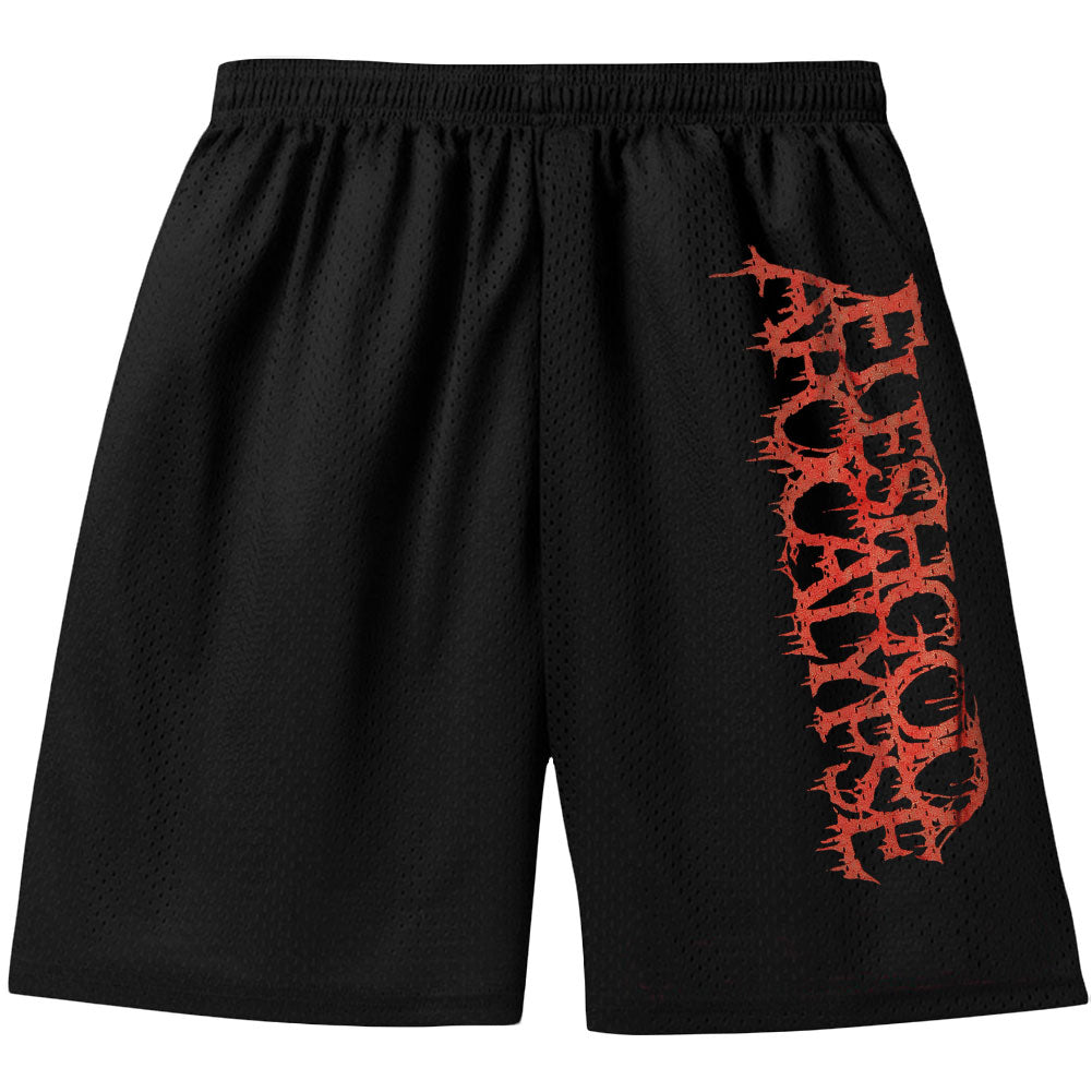 Vertical Red Logo Gym Shorts