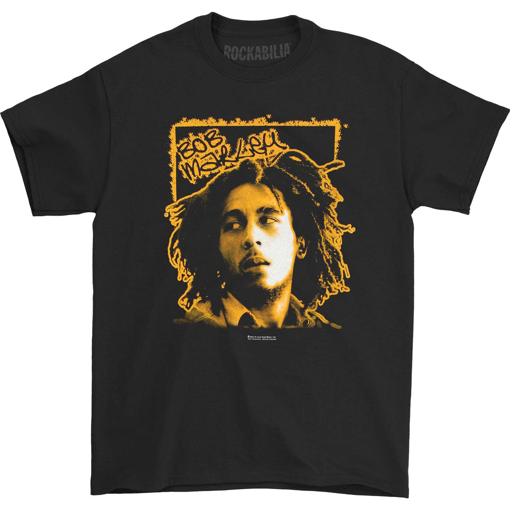 Bob Marley Tilt on black T-shirt