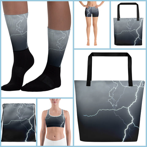 Grandfather Collection, socks, shorts, sportsbra, beach bag, tote bag, drawstring bag, accessories, lightning, activewear, footwear