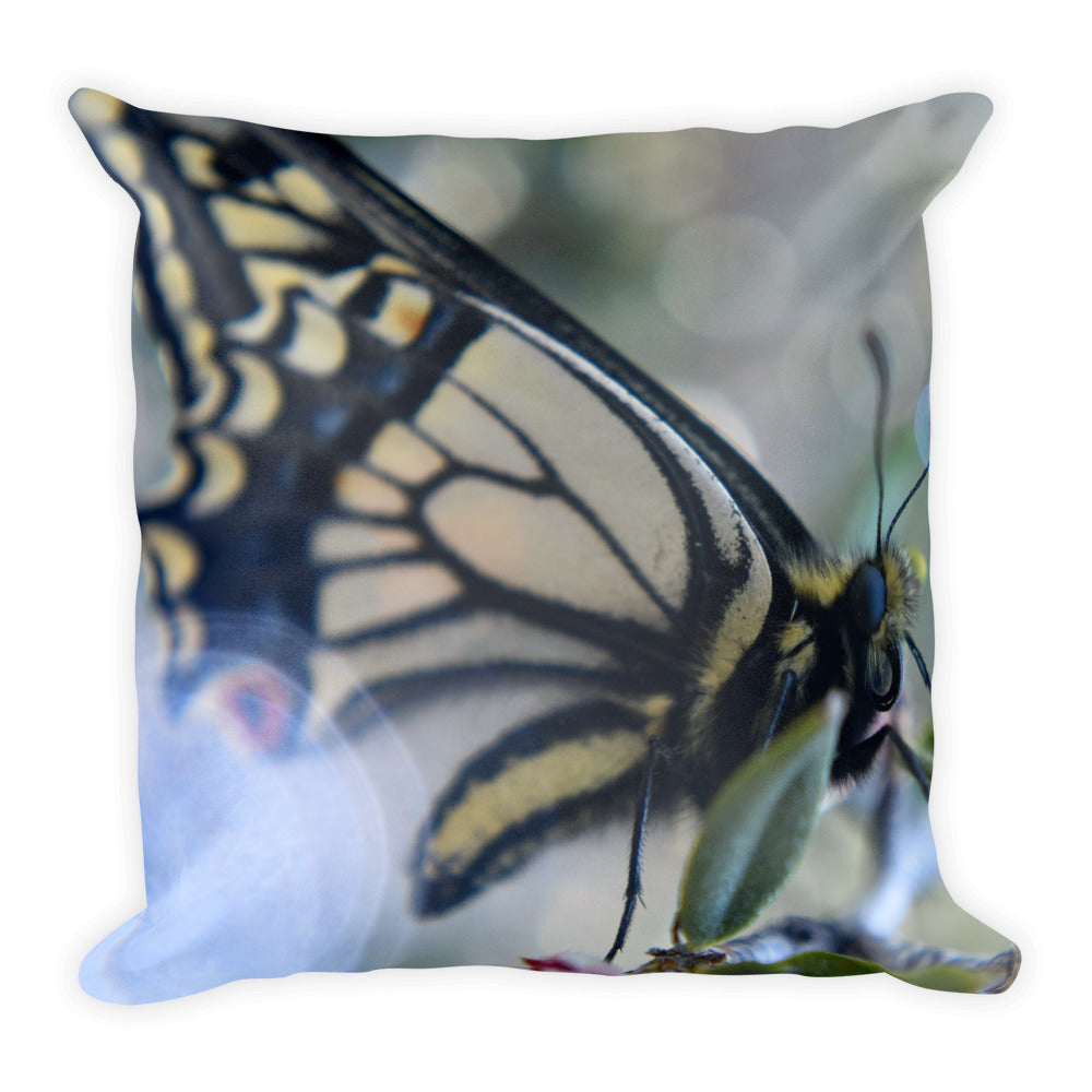 Yellow Butterfly Square Pillow - Aly Pictured It
