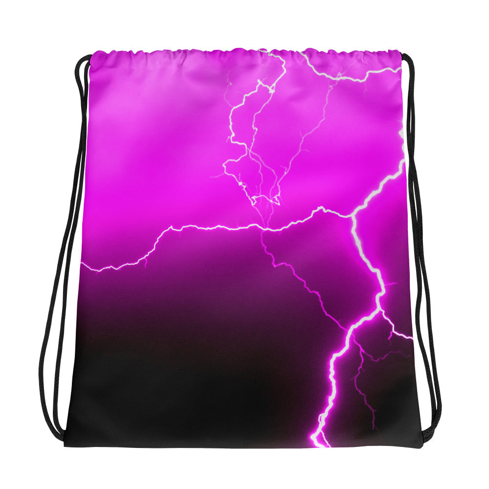 Pink Lightning Drawstring Bag - Aly Pictured It
