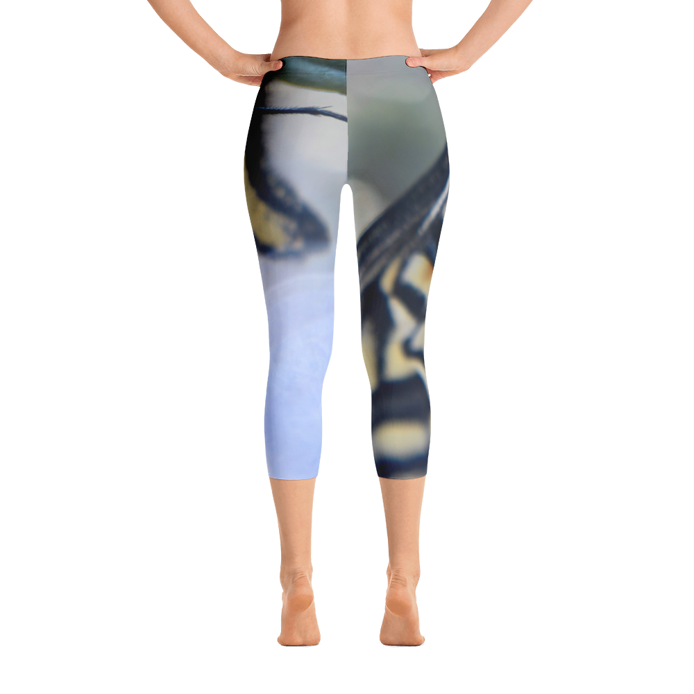 Yellow Butterfly Capri Leggings - Aly Pictured It