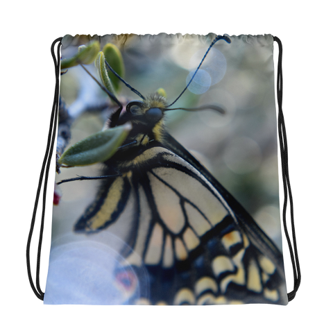 Yellow Butterfly Drawstring Bag - Aly Pictured It