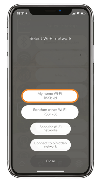Select your home Wi-Fi network
