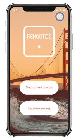 Remootio app main screen settings icon