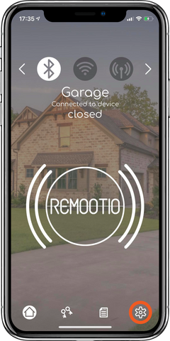 open settings view for Remootio