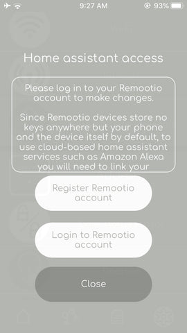 Remootio smart gate garage door opener controller iphone app alexa amazon echo Remootio account screen
